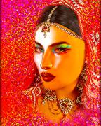 Abstract digital art of Indian or Asian woman's face - stock illustration