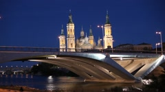 Bridge and ancient Cathedral in Zaragoza Stock Footage