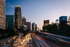 Traffic on the 110 Freeway and the Los Angeles Skyline at sunset, seen from t Kuvituskuvat