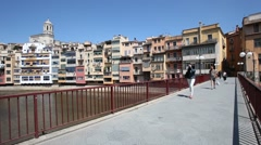 Old town of Girona, Spain Stock Footage