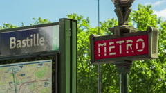 Establishing shot of metro bastille in Paris Stock Footage