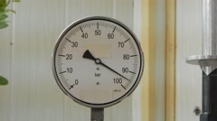 Check the pressure gauge. - stock footage