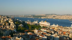 View to Bosphorus from galata tower. Itanbul, Turkey Stock Footage