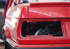 Close-up photo of empty backlight slot car - stock photo