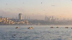 Fishing boats in bosphorus. Istanbul, Turkey Stock Footage