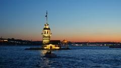 Maiden's Tower. Istanbul, Turkey (KIZ KULESI - USKUDAR) - stock footage