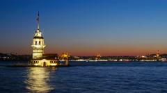 Maiden's Tower. istanbul, Turkey (KIZ KULESI - USKUDAR).  UHD, 4K - stock footage