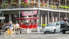 Vibrant French Quarter Street Scene of New Orleans Stock Footage