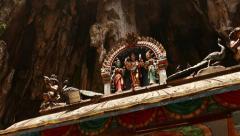 Hindu shrine roof decoration sculpture, tracking shot Stock Footage