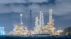 Stock Video Footage of Refinery industrial plant on night time