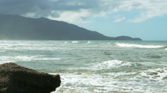 Tropical Caribbean coastline with waves hitting the rocks. Stock Footage