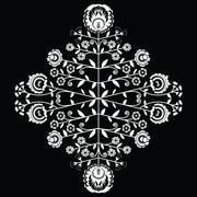 Polish folk inspired floral white  pattern on black background Stock Illustration