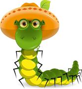Caterpillar in the hat Stock Illustration