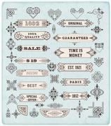 Set of calligraphic design elements: Labels, banners, baroque frames and flor Stock Illustration