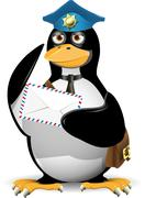 Penguin postman Stock Illustration