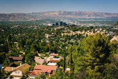 View of the San Fernando Valley from Top of Topanga Overlook, in Topanga, Cal Stock Photos