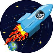 cartoon space rocket - stock illustration