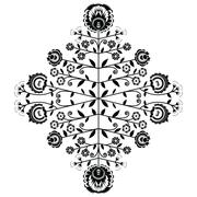 Polish folk inspired floral black pattern on white background - stock illustration
