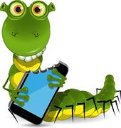 Worm with the device Stock Illustration