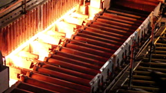 Hot slab extracting from Furnace, Industry steel. Stock Footage