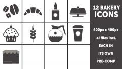 12 Bakery, Cafe or Restaurant Animated Icons - stock after effects