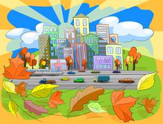 Autumn city Stock Illustration
