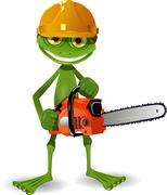 Frog with a chainsaw Stock Illustration