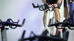 Spinning class: changing gear and constant speed - stock footage