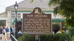 New Orleans Tourism Signage Closeup in French Quarter Stock Footage