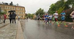 People running a maraton Stock Footage