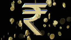 Rotating symbol currency of the Indian rupee Stock Footage