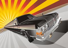 Retro limousine Stock Illustration