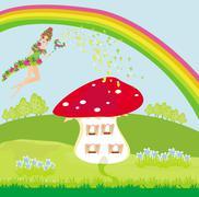 funny cartoon mushroom house and beautiful fairy - stock illustration