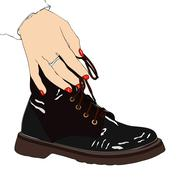 Woman with winter boot Stock Illustration