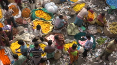 Overhead view of flower traders at market in Kolkata, India Stock Footage