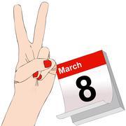March 8, International Women's Day Stock Illustration