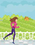Stock Illustration of Jogging girl in the countryside