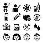 Childhood vaccinations, chicken pox icon set - stock illustration