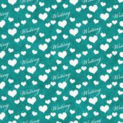 Teal and White I Love Writing Tile Pattern Repeat Background Stock Illustration