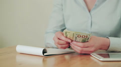 Accounting - Woman Counting Money - stock footage