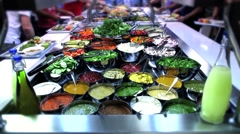 Salat Bar with souces Stock Footage
