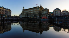 Sunset over the old town of Leiden Stock Footage