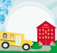 Illustration of a school bus heading to school with happy children Stock Illustration