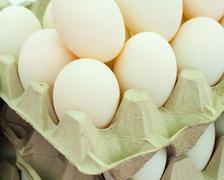 Free range duck eggs in British market Stock Photos