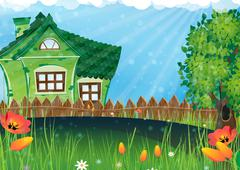 Rural house in the meadow - stock illustration
