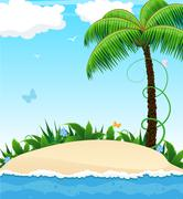Stock Illustration of Small island with a palm tree