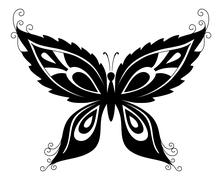Butterfly, black silhouettes Stock Illustration