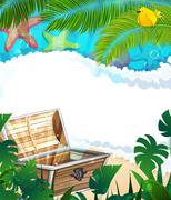Treasure Chest on the tropical coast Stock Illustration