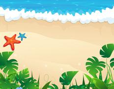 Tropical beach with tropical vegetation - stock illustration