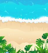 Tropical ocean shore - stock illustration